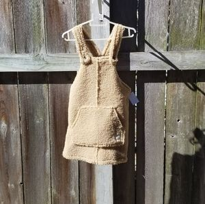 Faux fur sherpa overall dress toddler girl size 3T
